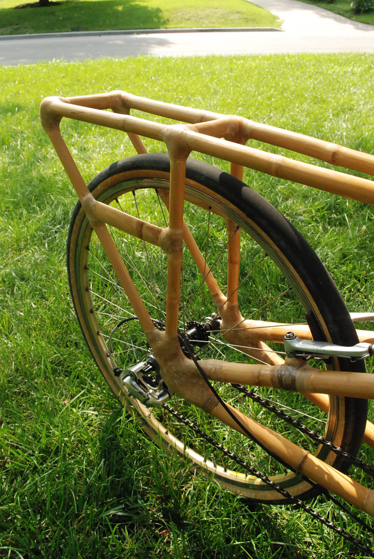 Bamboo Cargo bike rear rack area