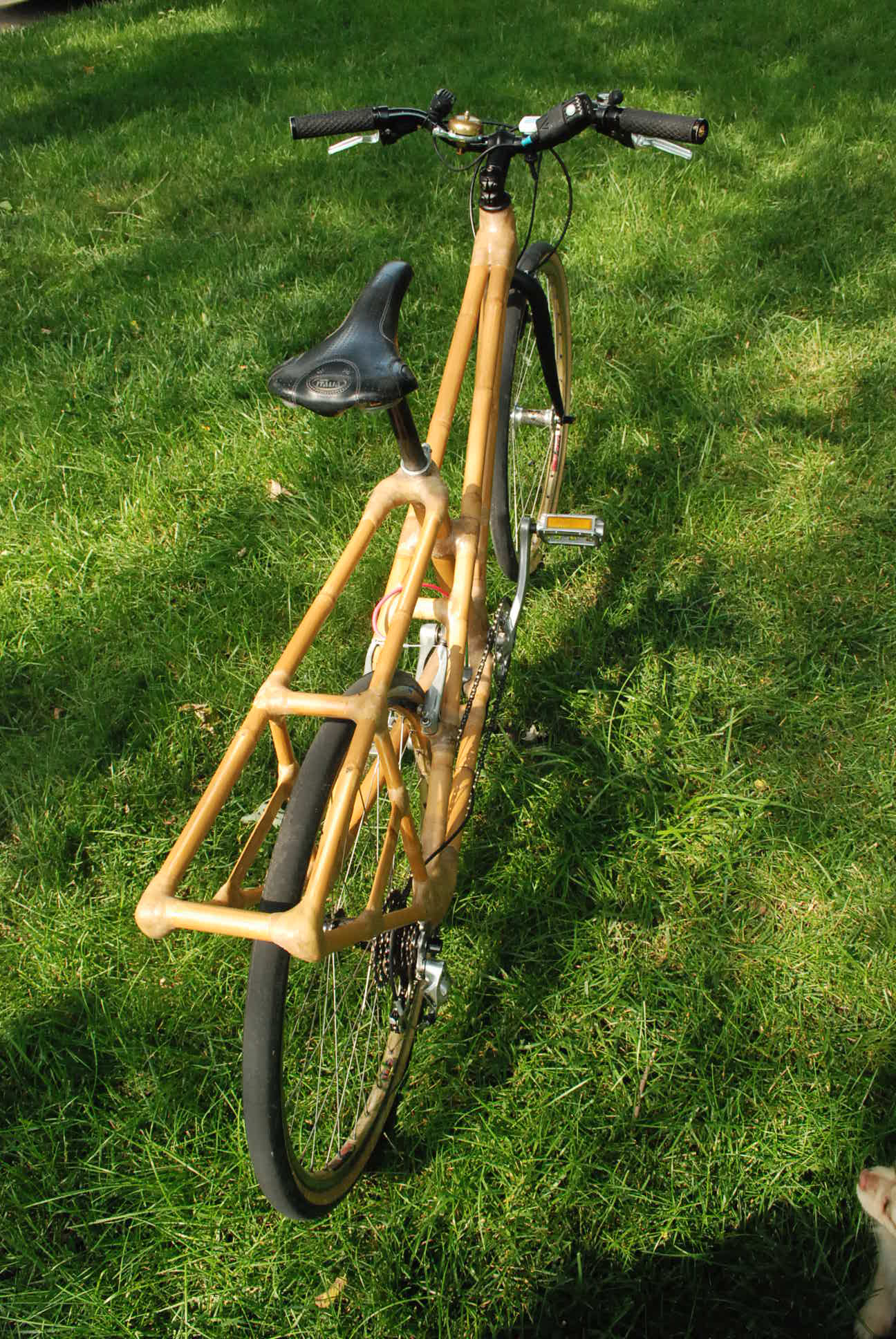 cargo area on bamboo bike
