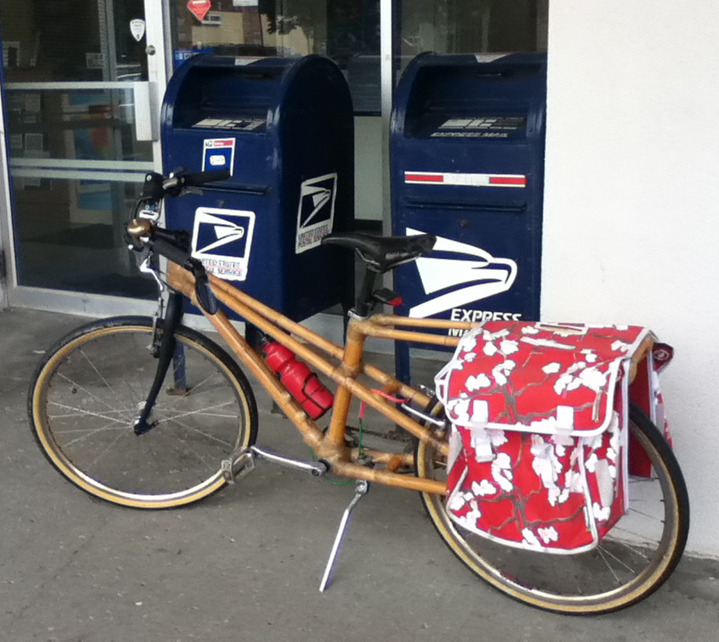 Bamboo Cargo Bike At the Post Office