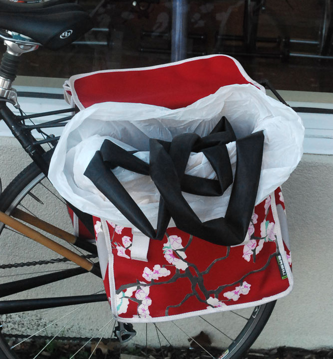 Inner tubes fit nicely in Basil Panniers.