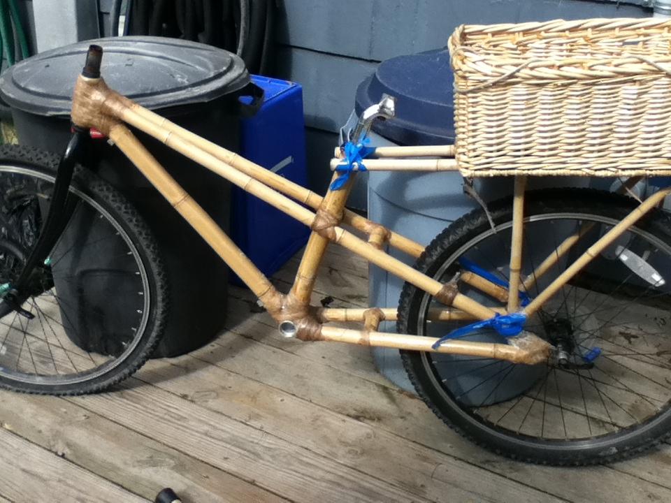 bamboo bike tacked together